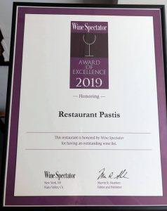 Pastiksen Wine Spectator palkinto